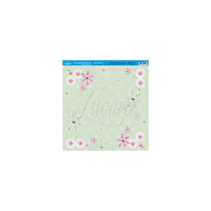 Folha Simples Scrapbook SS-001 Flowers Patch