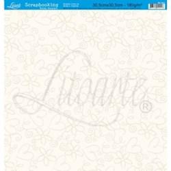 Folha Simples Scrapbook SS-002 Flores e Corações Bege