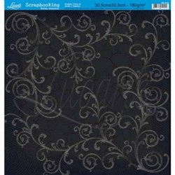 Folha Simples Scrapbook SS-010 Craquelê Arabescos PB