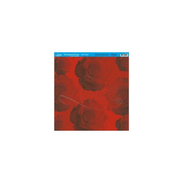 Folha Simples Scrapbook SS-011 Rosas Vermelhas