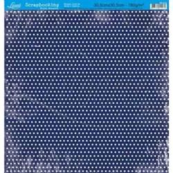 Folha Simples Scrapbook SS-014 Poá Branco FD Azul