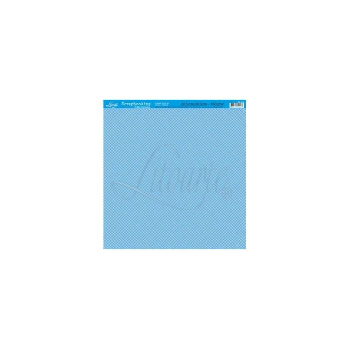 Folha Simples Scrapbook SS-018 Xadrez Azul