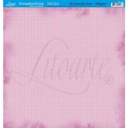 Folha Simples Scrapbook SS-019 Xadrez Rosa