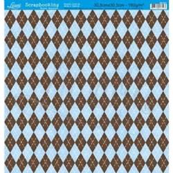 Folha Simples Scrapbook SS-021 Losango Azul e Marrom