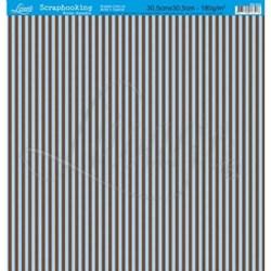 Folha Simples Scrapbook SS-023 Listras Azul e Marrom