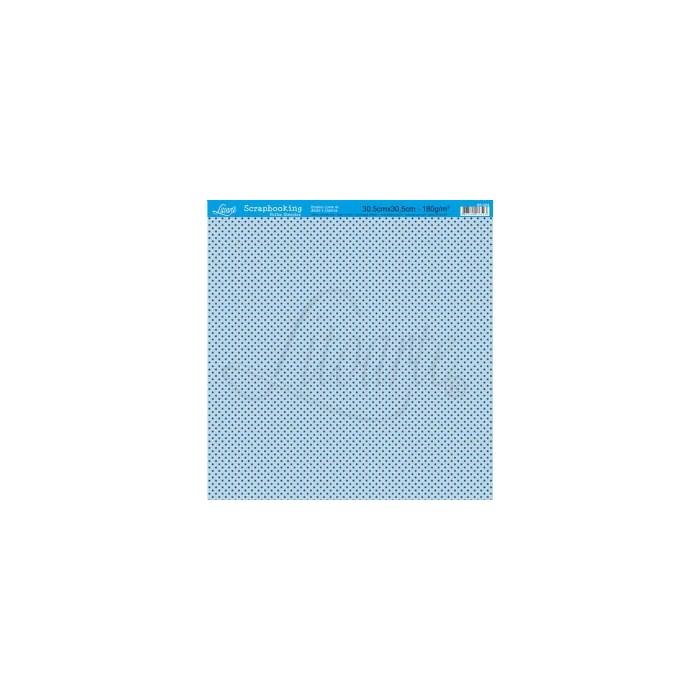 Folha Simples Scrapbook SS-024 Poá Marrom FD Azul
