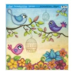 Folha Simples Scrapbook SS-076 Pássaros Coloridos