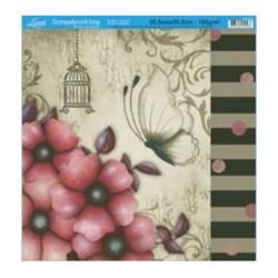 Folha Simples Scrapbook SS-078 Flores e Borboleta