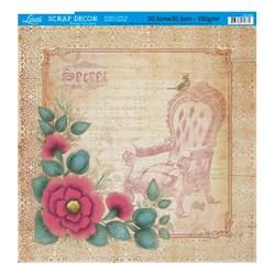 Folha Simples Scrapbook SS-092 Flores