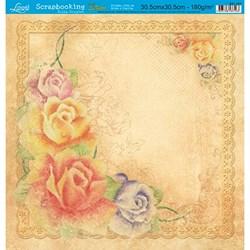 Folha Simples Scrapbooking Lili Negrão SS1-001 Rosas Coloridas