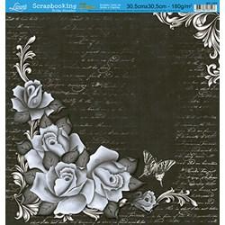 Folha Simples Scrapbooking Lili Negrão SS1-003 Rosas e Texto