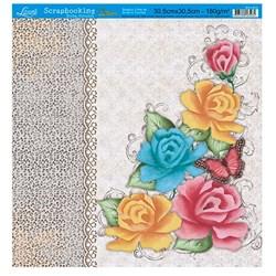 Folha Simples Scrapbooking Lili Negrão SS1-012 Rosas Coloridas