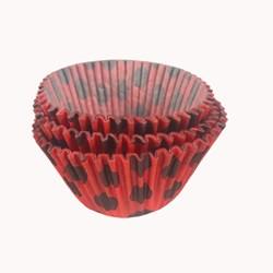 Forma para Cupcake  C/ 45 Unidades -Vermelho /Poá Preto