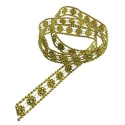 Galão Flor II com Borda falso Strass Ouro - GL-004 - com 1 metro