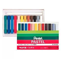Giz Pastel Seco Pentel com 12 cores (GA-12AD)
