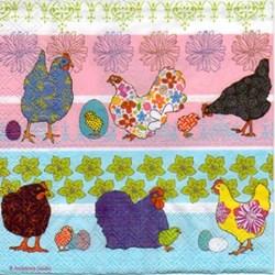 Guardanapo GDF-269 (13306675) Modern Chickens Blue - com 1 unidade