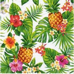 Guardanapo para Decoupage Arte Fácil GU-015 Abacaxi e Folhas de Palmeira FD Branco
