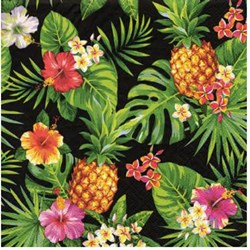 Guardanapo para Decoupage Arte Fácil GU-016 Abacaxi e Folhas de Palmeira FD Preto