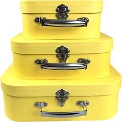 Kit Maletas Decorativas Vintage Amarela EF01 - 3 Peças
