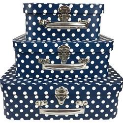 Kit Maletas Decorativas Vintage Bolinha Fundo Azul EF07 - 3 Peças