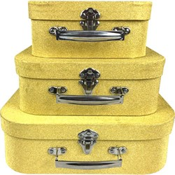 Kit Maletas Decorativas Vintage Dourado com Glitter EF06 - 3 Peças