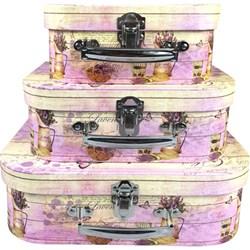 Kit Maletas Decorativas Vintage Lavender Love EF10 - 3 Peças