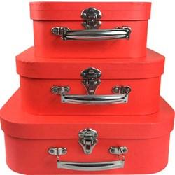 Kit Maletas Decorativas Vintage Vermelha EF02 - 3 Peças