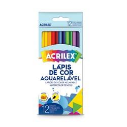 Lápis de Cor Aquarelavel Caixa com 12 unidades + 1 Pincel - Acrilex