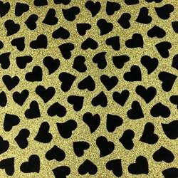 Lonita com Glitter 22x24cm LT001 - Coração Preto FD Dourado