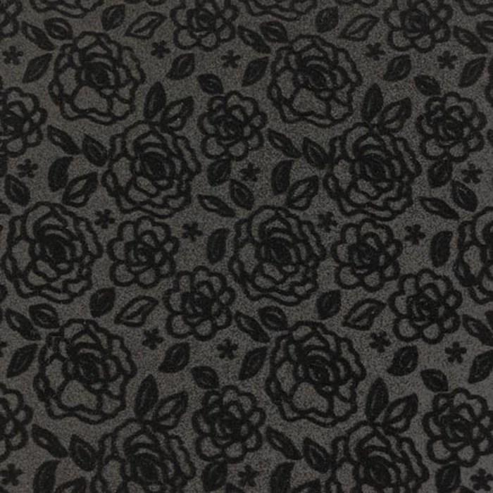 Lonita com Glitter 22x42cm LT011 - Rosas e Flores FD Cinza Escuro