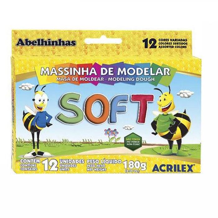 Massinha de Modelar 180g SOFT Acrilex - com 12 cores