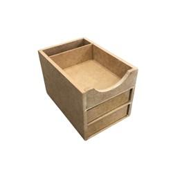 Mini Organizador de Mesa com 2 Gavetas 15,3x10,6x10,3cm MDF-36