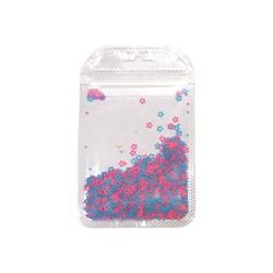 Mini Paetê Flor Vazada Azul e Rosa Fluor - pacote com 2 gramas