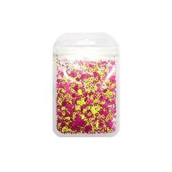 Mini Paetê Flor Vazada Roxa e Amarelo Fluor - pacote com 2 gramas