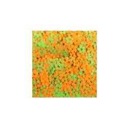 Mini Paetê Flor Vazada Verde e Laranja Fluor - pacote com 2 gramas