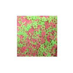 Mini Paetê Flor Vazada Verde e Rosa Fluor - pacote com 2 gramas