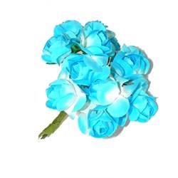 Mini Rosa de Papel Azul Celeste RSP-003 Embalagem com 12 unidades