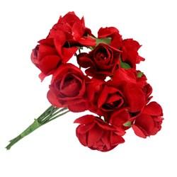 Mini Rosa de Papel Vermelha RSP-014 Embalagem com 12 unidades