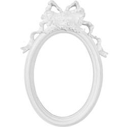 Moldura de Resina Branca LLM06 (013805) 24x15,5cm Oval com Laço