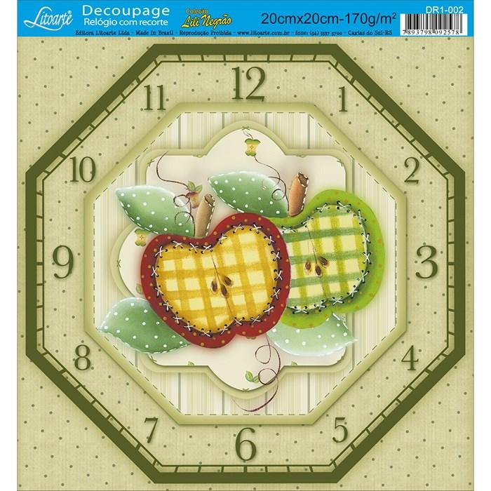Papel de decoupage para relógios Litoarte DR1-002 Maçãs Country