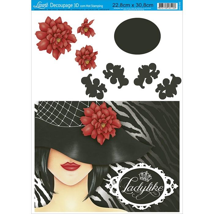Papel Decoupage 3D Litoarte com Hot Stamping DH3-042