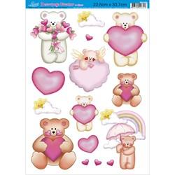 Papel Decoupage Litoarte com Glitter DEG-008 Urso Love