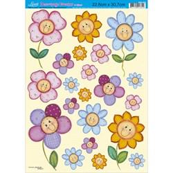 Papel Decoupage Litoarte com Glitter DEG-009 Flores Contente