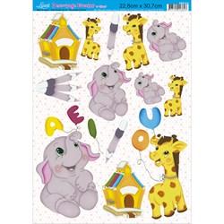 Papel Decoupage Litoarte com Glitter DEG-011 Girafa e Elefante