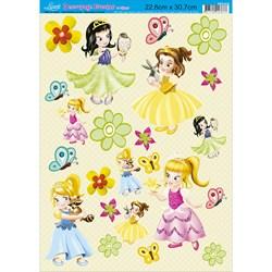 Papel Decoupage Litoarte com Glitter DEG-014 Garotas Princesas