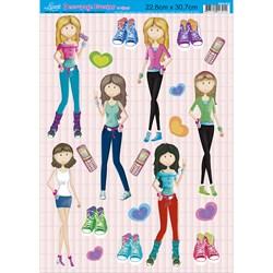 Papel Decoupage Litoarte com Glitter DEG-018 Meninas Fashion