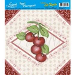 Papel Decoupage Quadrado Litoarte D201-004 Cereja