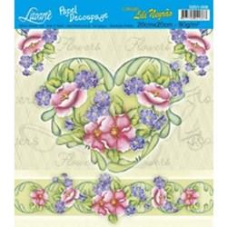 Papel Decoupage Quadrado Litoarte D201-008 Flor