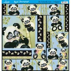 Papel Decoupage Quadrado Litoarte PDQ-031 Urso Panda