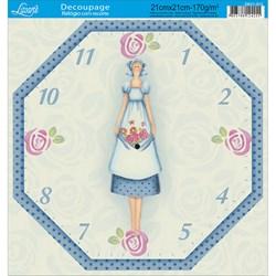 Papel Decoupage Relógio com Recorte DR21-015 Tilda II